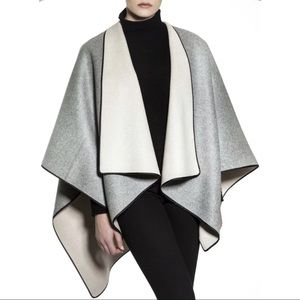 Beryll Reversible Wool Cashmere Gray & Ivory Cape Poncho